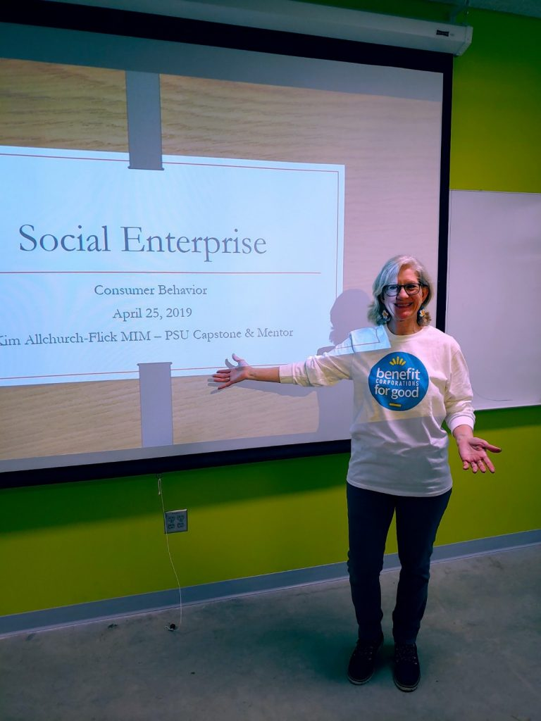 Kim Allchurch-Flick of  Mighty Epiphyte Consulting teaching class on consumer behavior and social enterprise